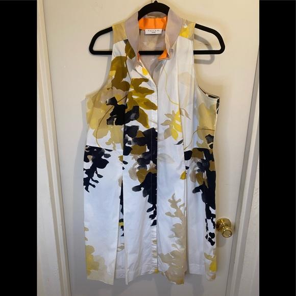 Tahari Stand Collar A-Line Dress